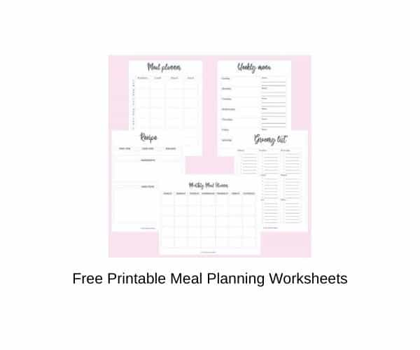 Free Printable Meal Planning Worksheets
