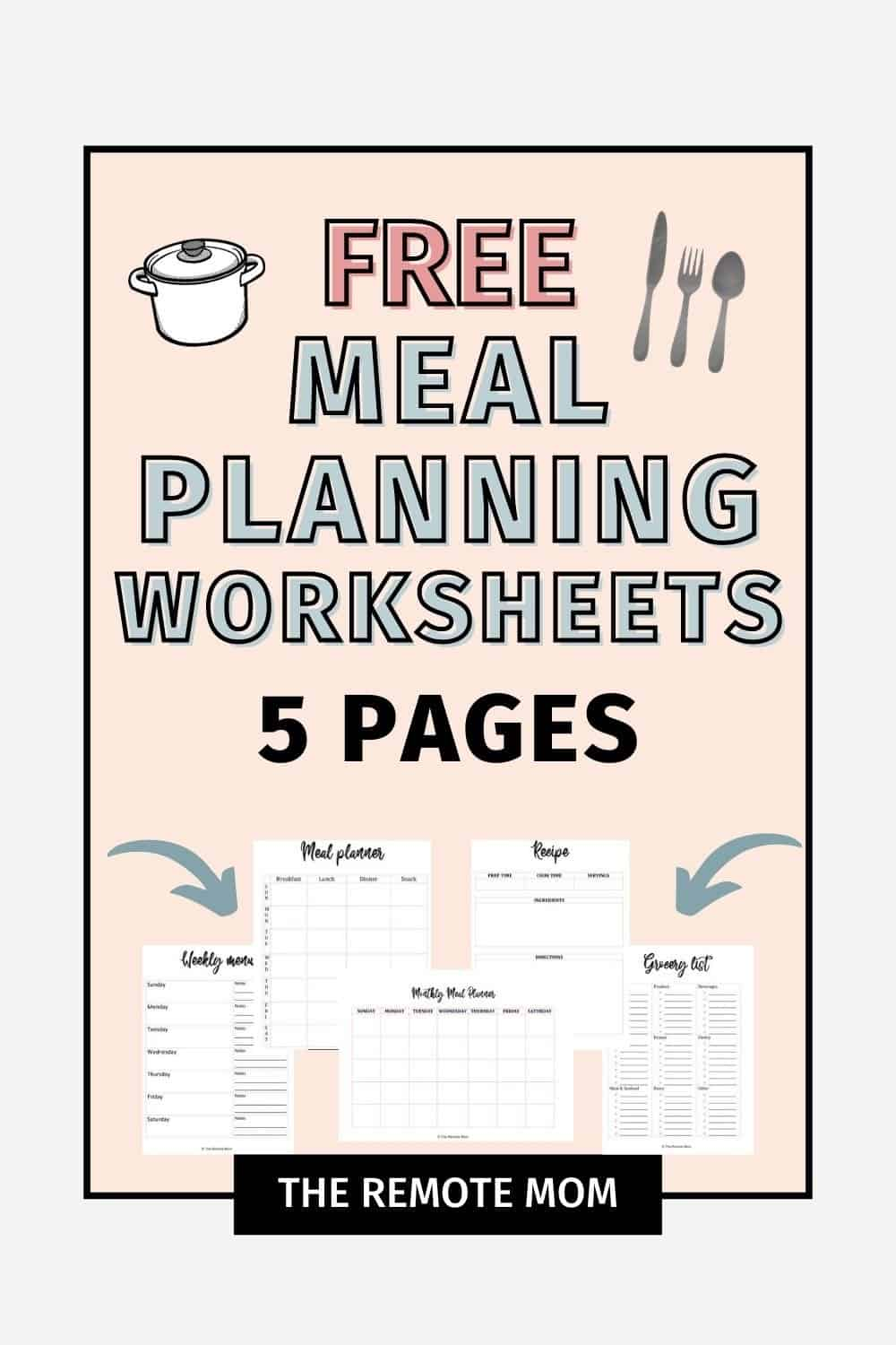 meal planning worksheets bundle printables free